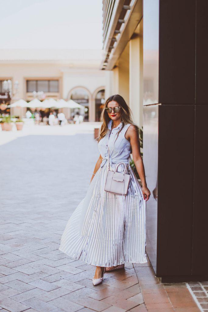 #OOTD // Tie-Front Chambray Top & Silver Pleated Maxi Skirt   BondGirlGlam.com