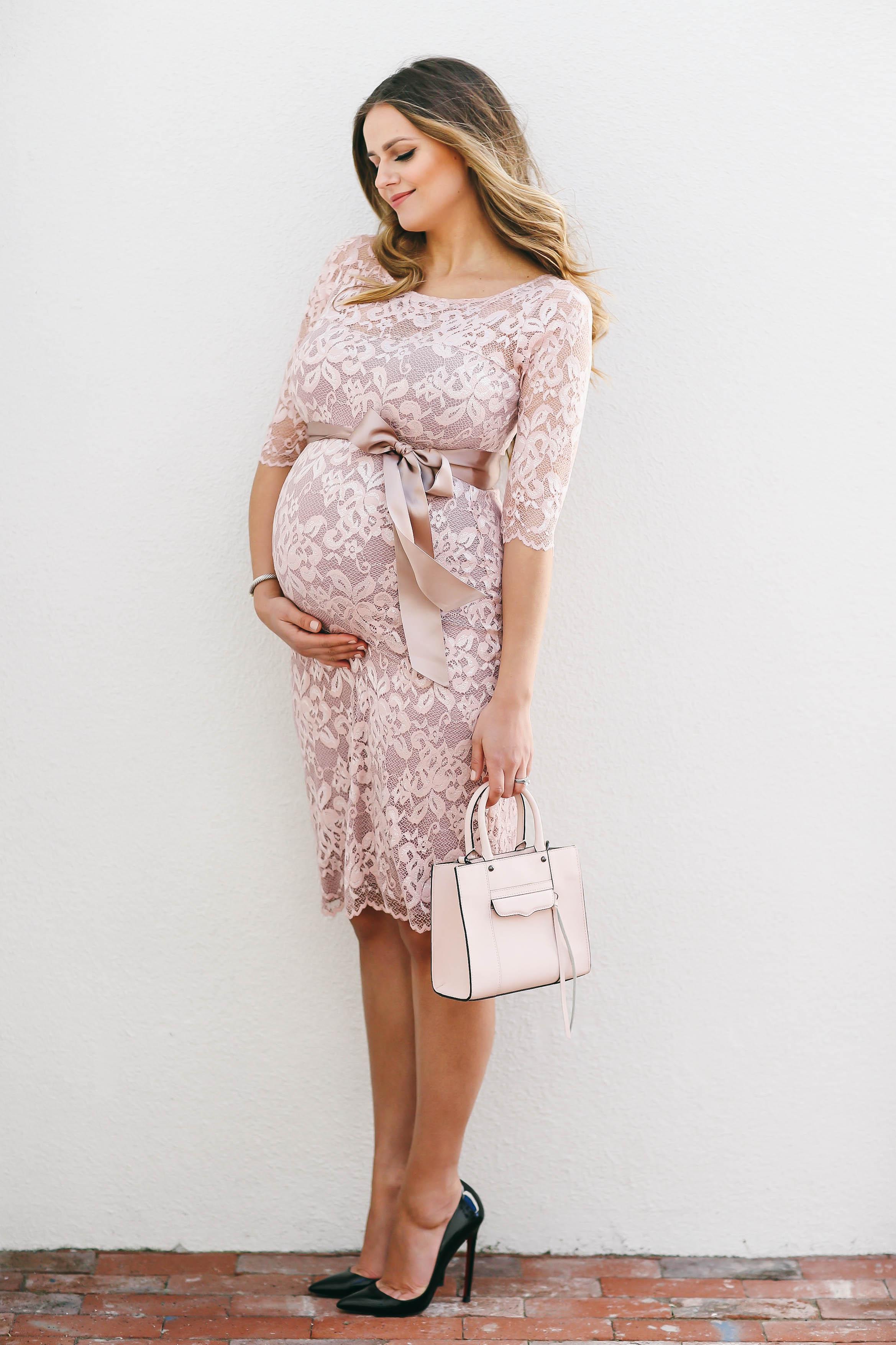 #BumpStyle // Blush Pink Lace Maternity Dress | BondGirlGlam.com