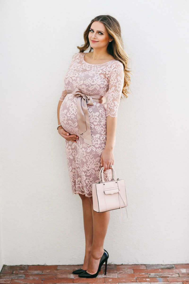 #BumpStyle // Blush Pink Lace Maternity Dress