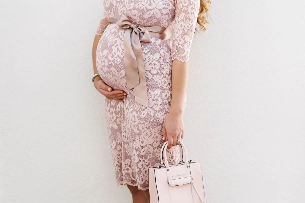 #BumpStyle // Pretty Pink Lace Maternity Dress | BondGirlGlam.com