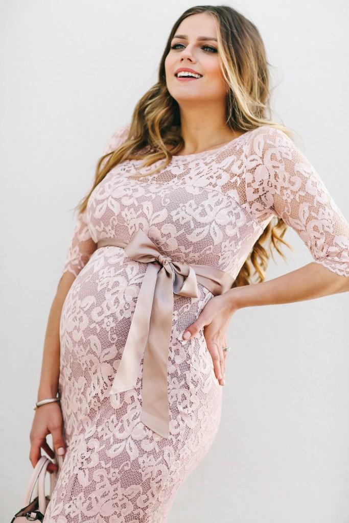 #BumpStyle // Blush Pink Lace Maternity Dress   BondGirlGlam.com