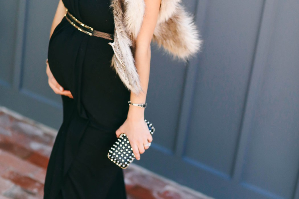 #BumpStyle // Glamorous One-Shoulder Black Maternity Evening Gown | BondGirlGlam.com