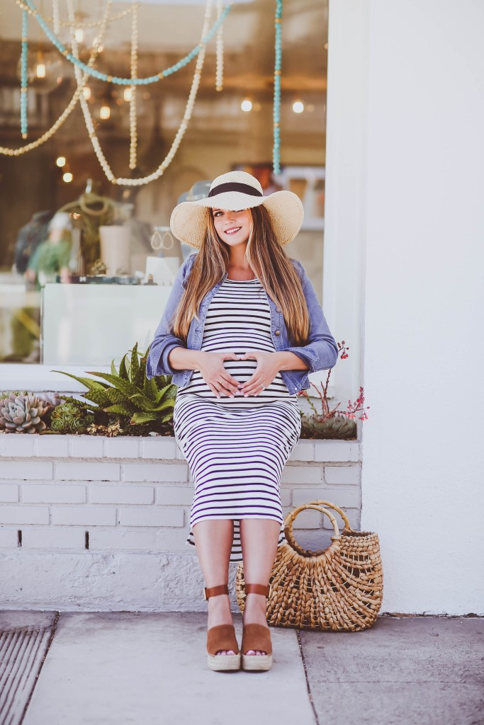 #BumpStyle // Denim Jacket & Striped Midi Maternity Dress | BondGirlGlam.com