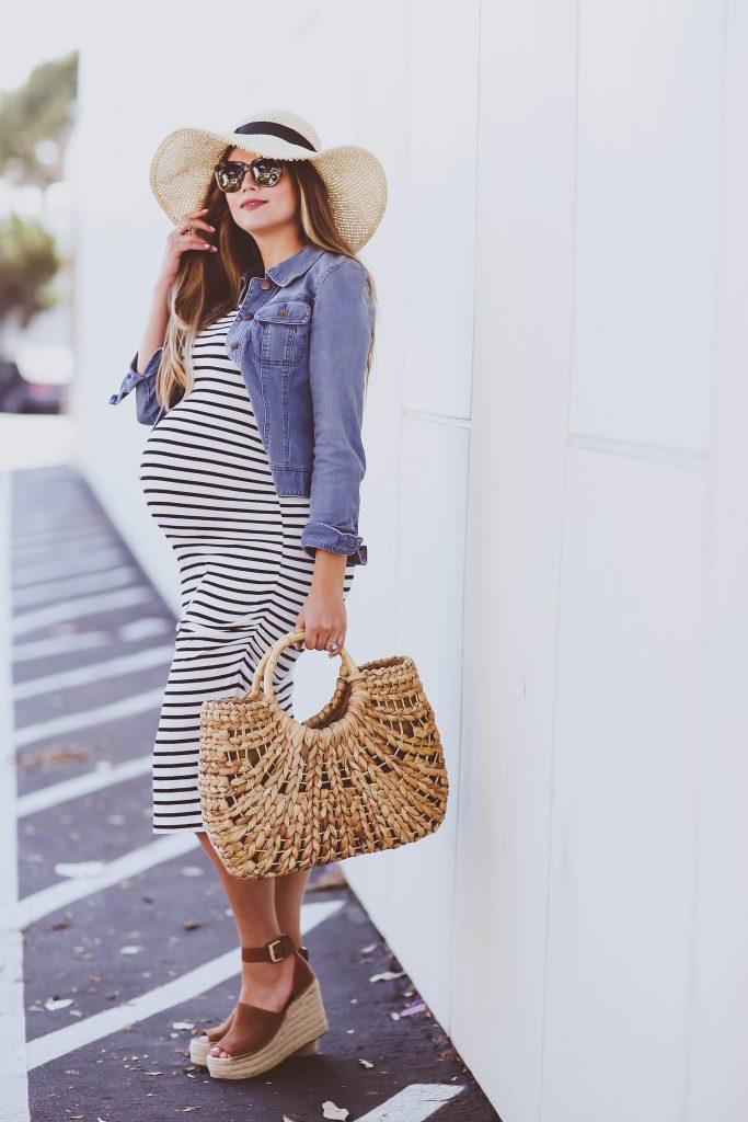 #BumpStyle // Denim Jacket & Striped Midi Maternity Dress   BondGirlGlam.com