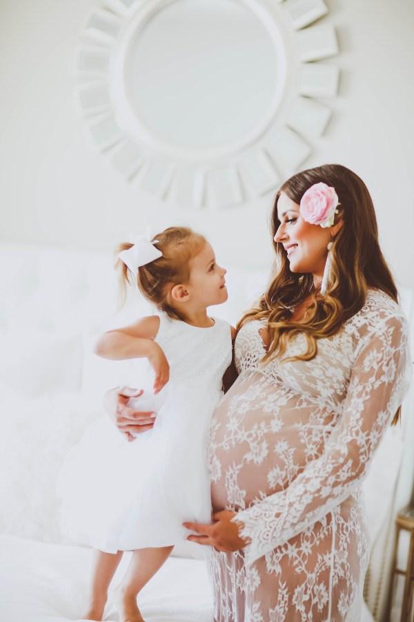 Lace Maternity Boudoir Gown | BondGirlGlam.com