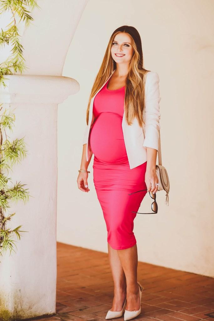 #BumpStyle // Blush Open-Front Blazer & Pink Ruched Maternity Tank Dress | BondGirlGlam.com