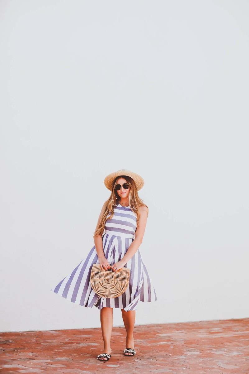 #OOTD // Blue & White Striped Halter Dress & Bamboo Clutch