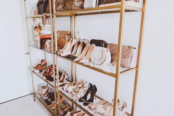 bag and shoe collection display, bag and shoe organization ideas, gold etagere with glass shelves, small space organization