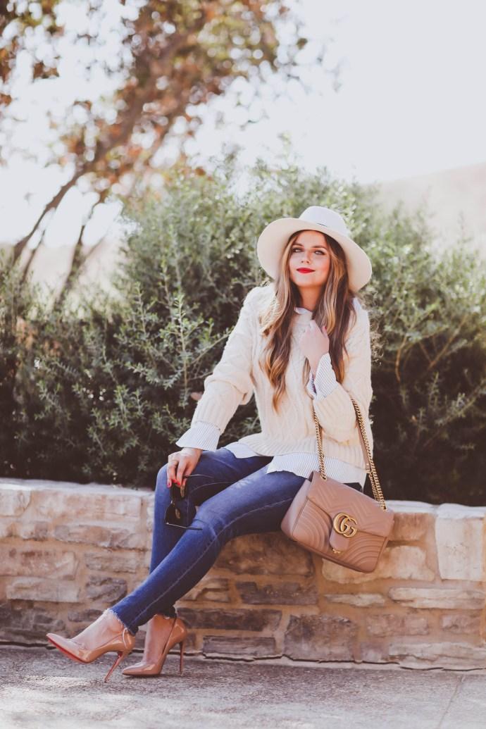 #OOTD // Cable Knit Sweater & Raw-Hem Skinny Jeans   BondGirlGlam.com