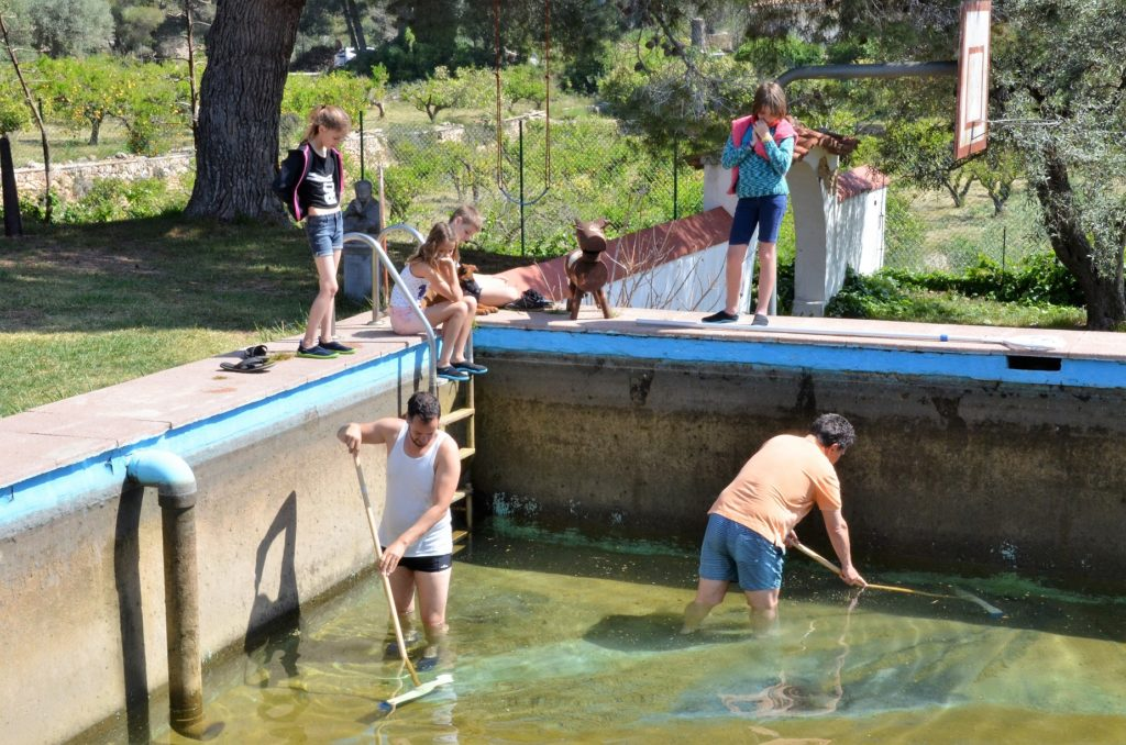 Natuurzwembad schoonmaken