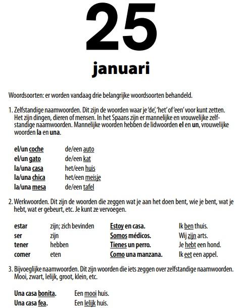Spaanse taalkalender