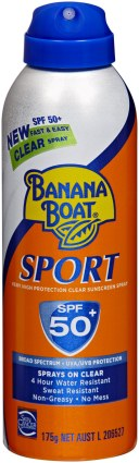 Banana Boat sprays on clear - super easy.