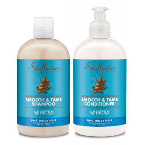 Shea Moisture Argan Oil Almost Milk Shampoo & Conditioner bottles.