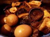 Braised meat, egg and mushrooms.