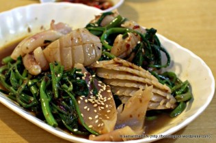 Morning Glory or Kangkong as we called locally stir-fried with Sambal and Cuttlefish.