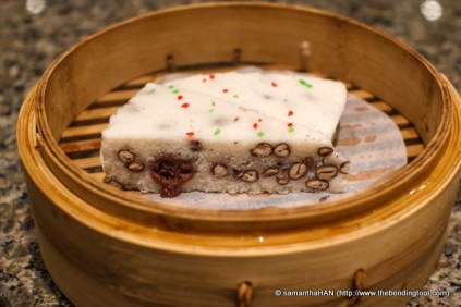 Steamed Glutinous Rice Cake stuffed with mashed Red Beans.