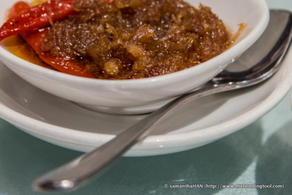 X.O. Sauce is a spicy dipping sauce made od dried conpoy, dried shrimps and chillies.