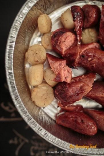 Chorizo and Scallops.