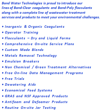 Wastewater treatment products offered by Bond