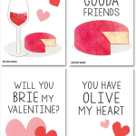 Wine & Cheese Valentine Card Set