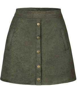 High Waist Suede Button Skirt