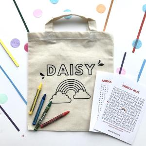 Personalized Rainbow Canvas Tote