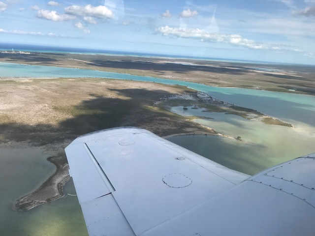 View of bonefish waters flying into Andros