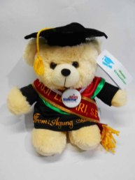 boneka wisuda puffy bear nama di baju dan selempang wisuda 4