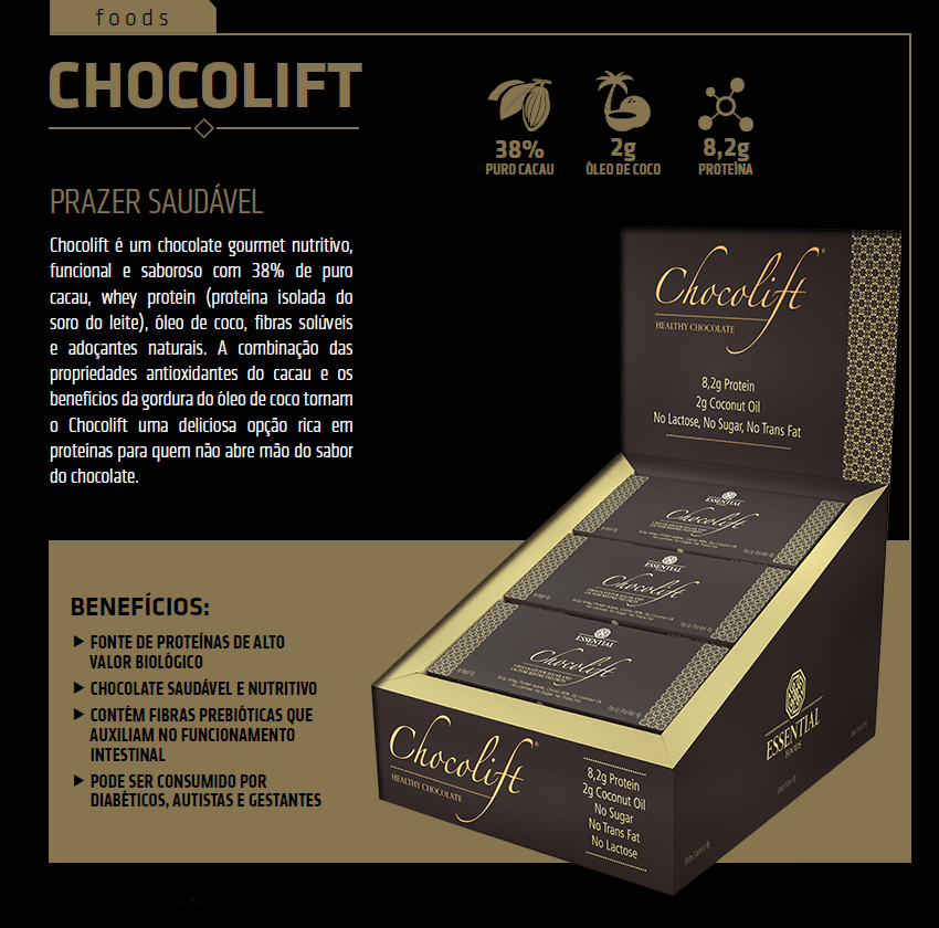 Especificações do Chocolift da Essential Nutrition