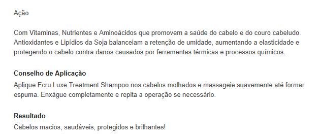 Ecru New York Luxe Treatment Shampoo pra que serve