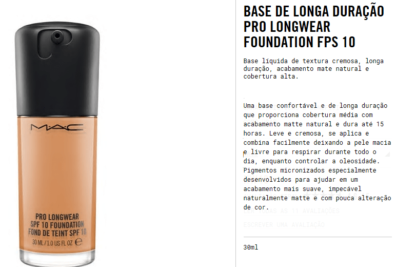 Especificações da Base Studio Fix Pro Longwear MAC