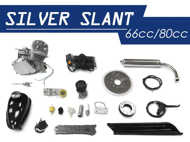 Silver Slant Motorized Bicycle Kit