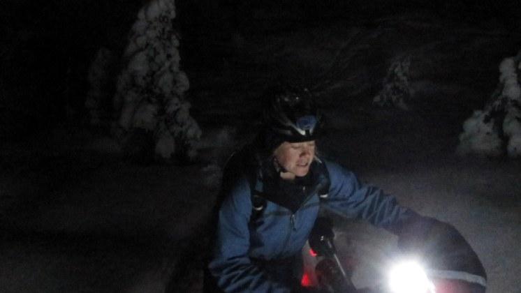Nocturnal snow biking