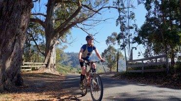 Jill riding a California road