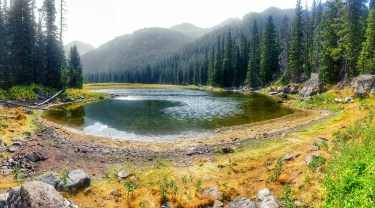 Panoramic view of what is left of the lake