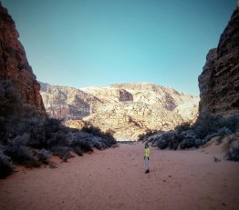 Mo walks through the only passage way to get to this canyon