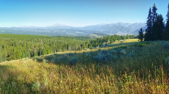 Looking across the valley to Big Sky and Lone Peak