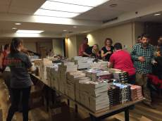 The bookbag distribution team!