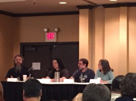 I wasn't stalking Rothfuss, though I might as well have been. PLOT panel, with Patrick Rothfuss, Peter Orullian, Steve Diamond, and Robin Hobb