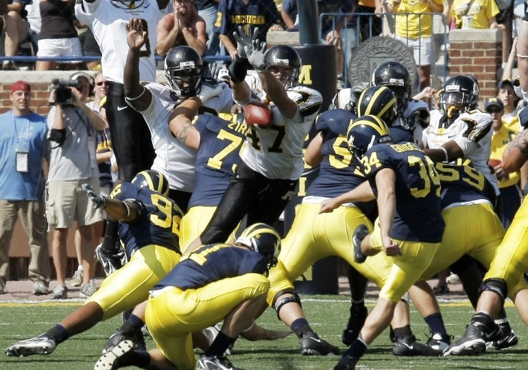 On Sept. 1, 2007, Appalachian State blocked a last ditch Michigan field goal to give the Mountaineers an historic upset over the No. 5 Wolverines. (Photo courtesy of National Football Foundation)