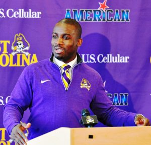ECU head coach Scottie Montgomery addresses the media at his signing day press conference last February. (Photo by Al Myatt)