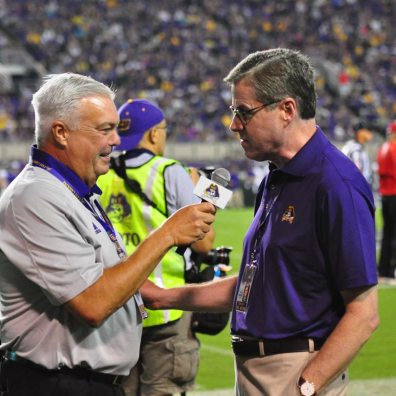 Bonesville's own, Brian Bailey interviews East Carolina's new Chancellor, Dr. Cecil Staton during Saturday's matchup with Western Carolina. (Bonesville Staff photo)
