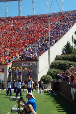East Carolina fans were tucked in a corner of Virginia Tech's Lane Stadium. (Photo by Al Myatt)