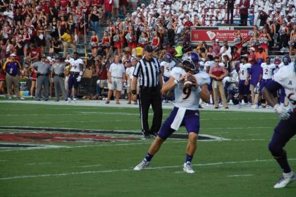 East Carolina quarterback Philip Nelson looks for a receiver at South Carolina on Saturday.
