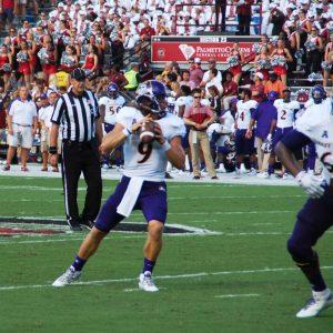 East Carolina quarterback Philip Nelson looks for a receiver at South Carolina on Saturday. (Photo by Al Myatt)