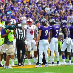 Philip Nelson (9), Zay Jones (7), DaShaun Amos (39) and Demetri McGill (56) serve as the captains for the home team in Saturday's contest with ACC opponent NC State. (WA Myatt photo)