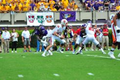 Saturday's player of the game, Dayon Pratt, sacks NCSU quarterback Ryan Finley in the first half of play. (WA Myatt photo)