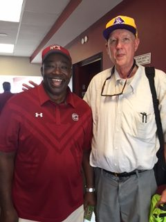 Bonesville's Al Myatt rode the elevator with 1980 Heisman Trophy winner George Rogers of South Carolina on Saturday.