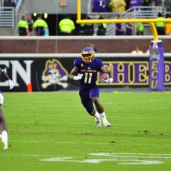 ECU triple-threat James Summers gave a glimpse of the damage he would inflict on N.C. State last Saturday when he rushed for 95 yards on 10 carries in ECU's opener against Western Carolina the previous week. (W.A. Myatt photo)