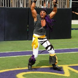 The well-armed Pirate emerges before the East Carolina football team enters Dowdy-Ficklen Stadium.
